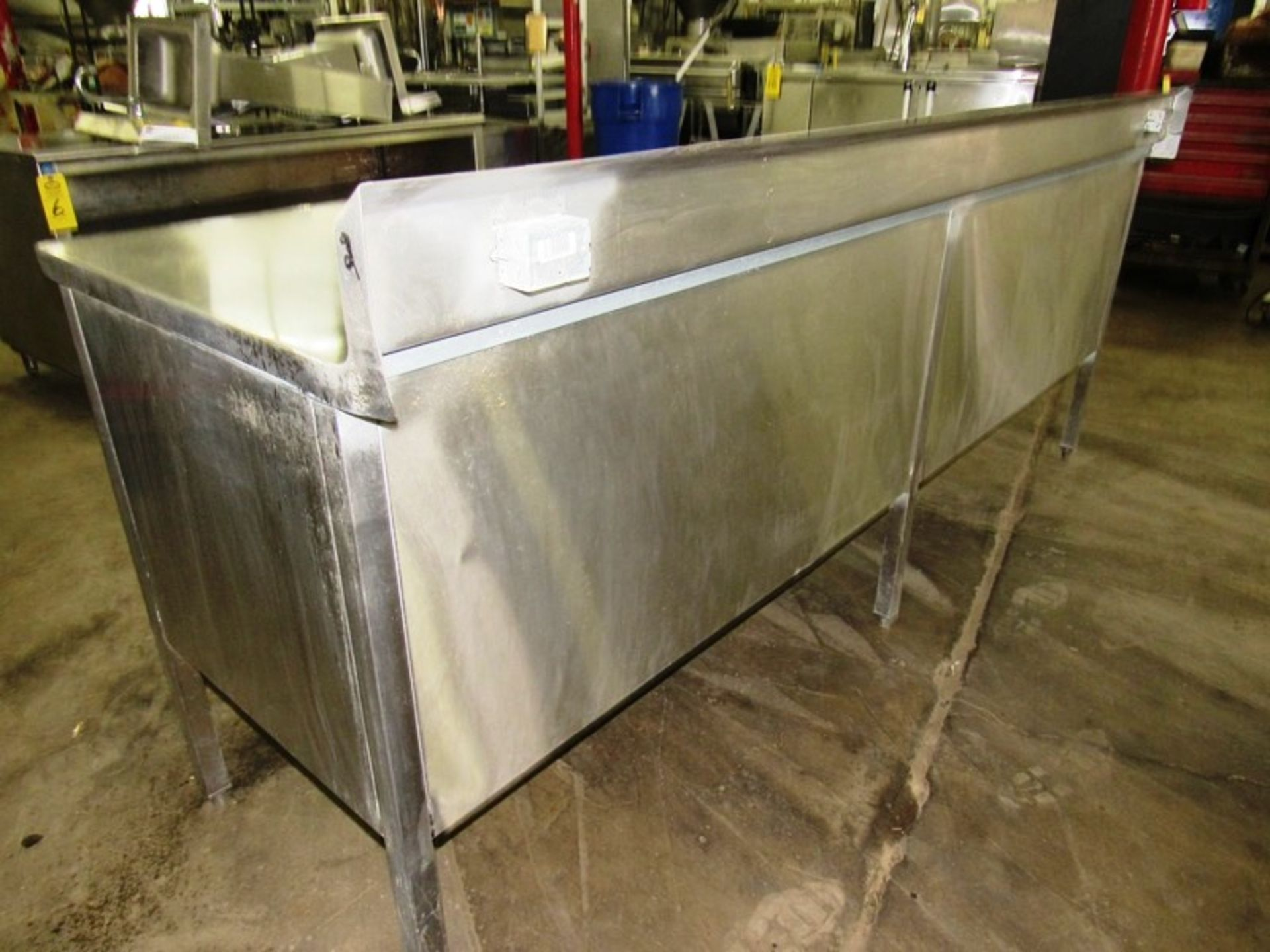 "Stainless Steel Cabinet, 30"" W X 8' L X 36"" T, (4) sliding doors, 6"" backsplash - Image 3 of 5"