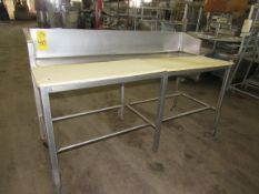 "Stainless Steel Table, 28"" W X 6' L, 10"" stainless steel backsplash, poly tops"