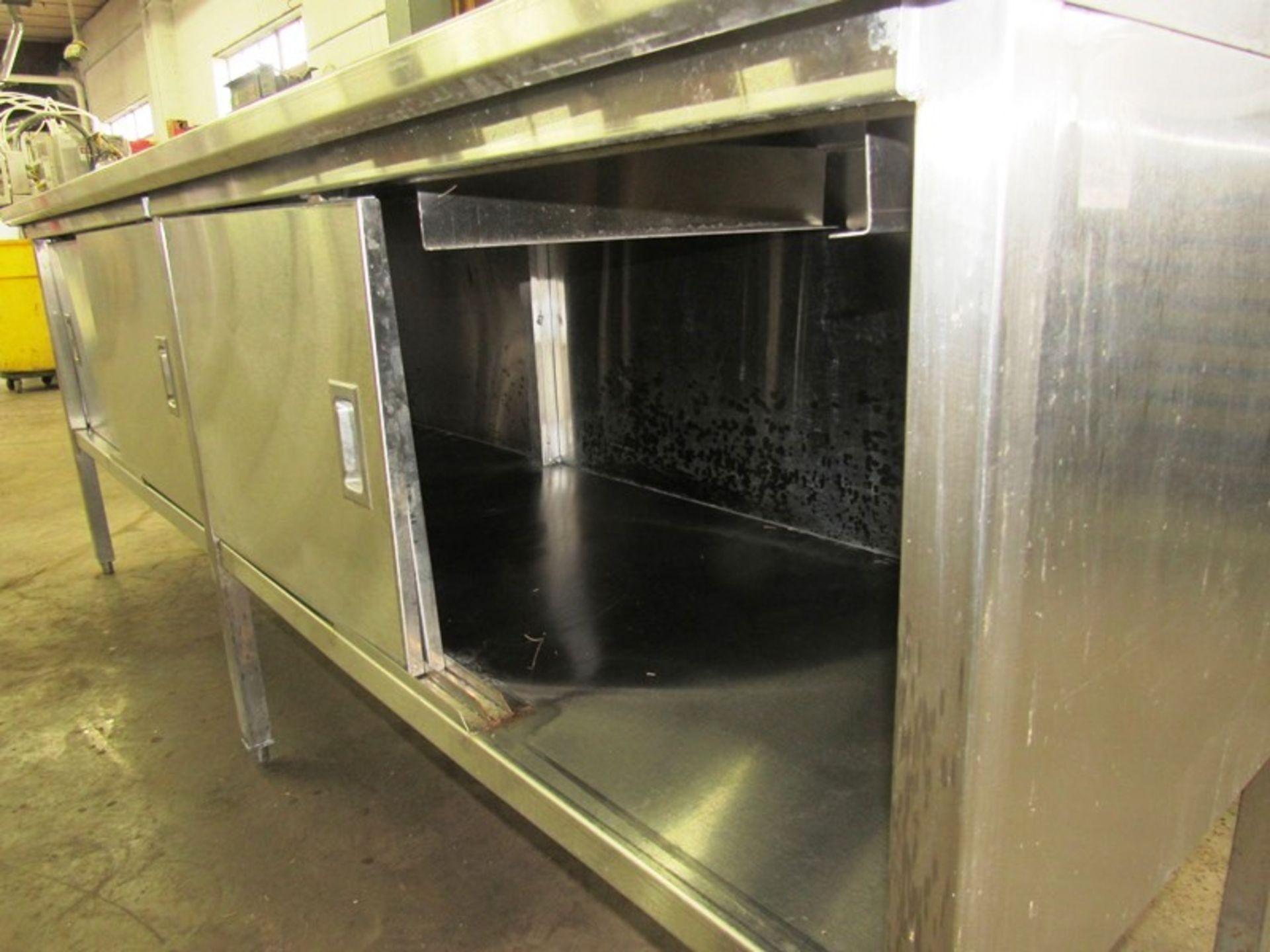 "Stainless Steel Cabinet, 30"" W X 8' L X 36"" T, (4) sliding doors, 6"" backsplash - Image 3 of 4"