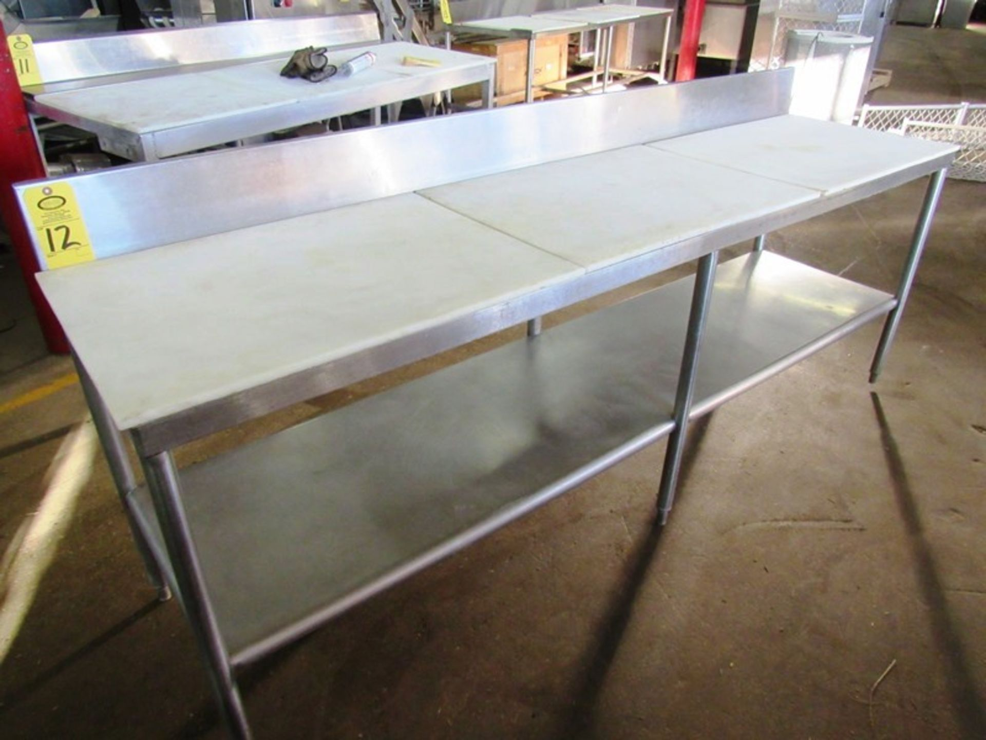 """Stainless Steel Table, 2' W X 8' L X 34"""" T with poly tops"""