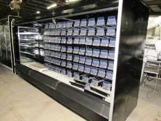 Hussman Refrigerated Reach-In Cooler, 12' long with lights, spring loaded compartments & shelves