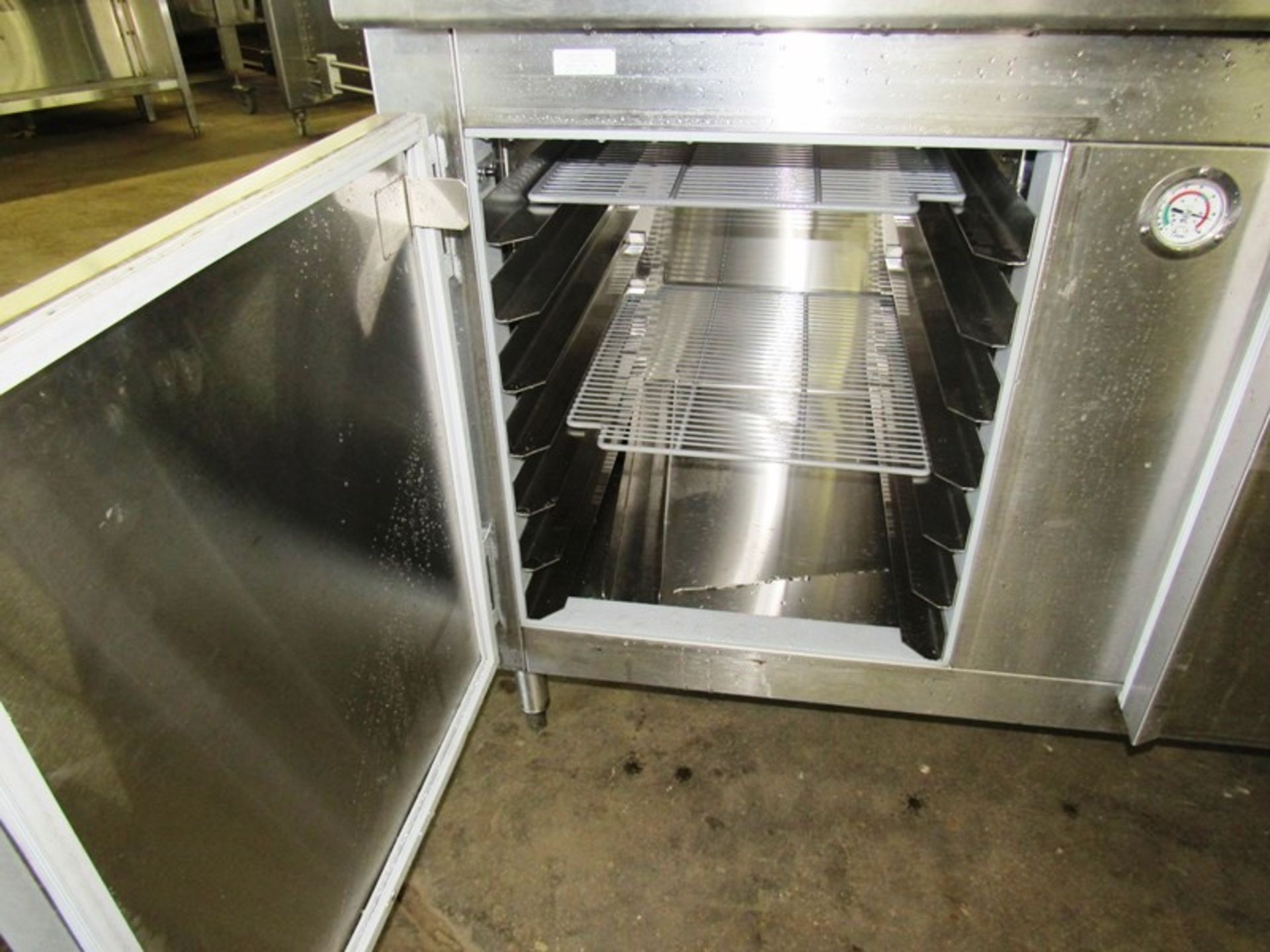 "Nationwide Fabrication Mdl. 3457-50 Stainless Steel Refrigerated Prep Table, 3 doors, 7 shelves, 80"" - Image 4 of 7"