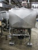 """Crepaco Stainless Steel Liquifier, 44"""" X 44"""" square X 36"""" deep, single wall mixer tank on load"""