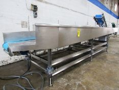 """Equip Mdl. 129 Stainless Steel Sorting Table on load cells, 15"""" W X 18' L belt conveyor, 65"""" W X 20'"""