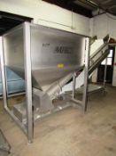 "AMFEC Stainless Steel Hopper with incline conveyor, hopper, 53"" W X 50"" L X 48"" D conveyor, 19 1/"