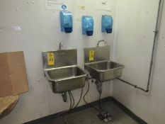 Stainless Steel Sinks, foot pedal activated, (3) Soap Dispensers & (2) Towel Dispensers (Required