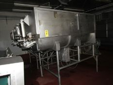 "Mepaco Dual Shaft Ribbon Blender, 64"" W X 93"" L X 43"" D tub, pneumatic front end discharge, 20 h."