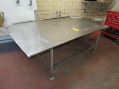 "Stainless Steel Stuffing Table, 57"" W X 8' L (Required Rigging Fee: $50 Contact Norm Pavlish at"
