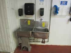 Stainless Steel Sink, foot pedal activated, (2) soap dispensers, towel dispenser (Required Rigging
