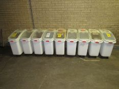 Rubbermaid Plastic Spice Totes (Required Rigging Fee: $25 Contact Norm Pavlish at Nebraska Stainless