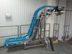 """Stainless Steel Z Conveyor, 9"""" W X 10' L plasatic belt, 12"""" between flights, 15"""" infeed, 64"""""""