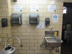 Lot Stainless Steel Sink, knee pedal activated, (2) Soap Dispensers, (2) Towel Dispensers, Knife