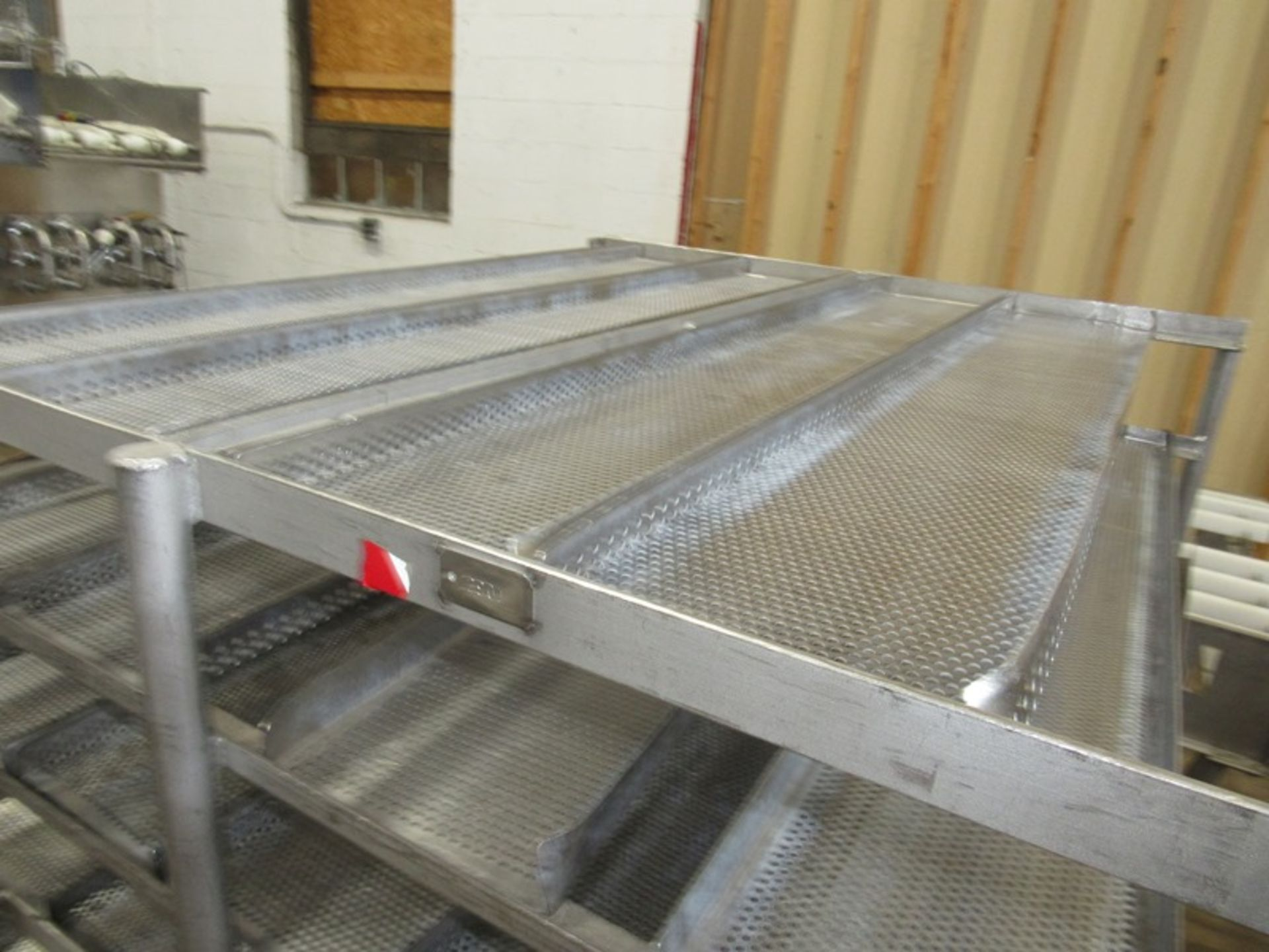 "Portable Stainless Steel Cart, 43"" W X 52"" L X 5' T, 34 removable perforated trays, 8"" W X 48"" L ( - Image 2 of 3"