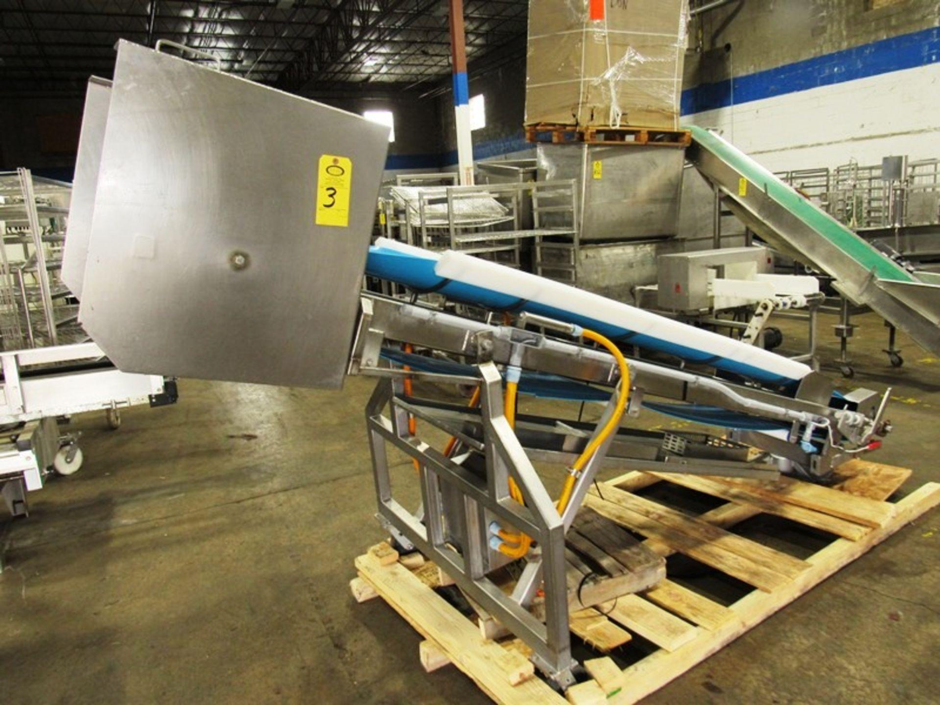 "Stainless Steel Incline Conveyor, 18"" Wide X 11' Long neoprene beltk 12"" inveed, 5' discharge, drum - Image 2 of 5"