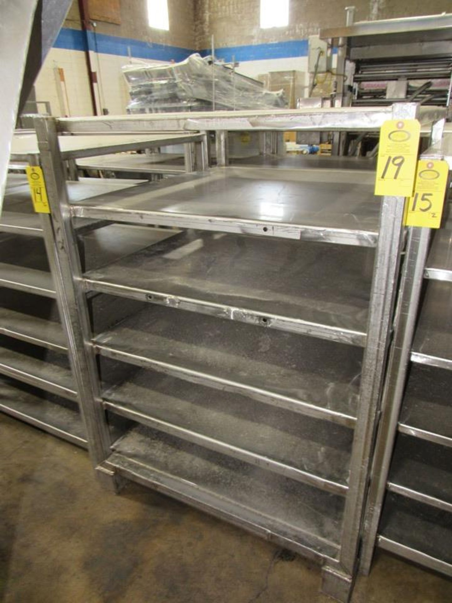 "Stainless Steel Rack, 45"" W X 45"" L X 64"" T, 6 shelves spaced 9"" apart (Equipment must be removed by"
