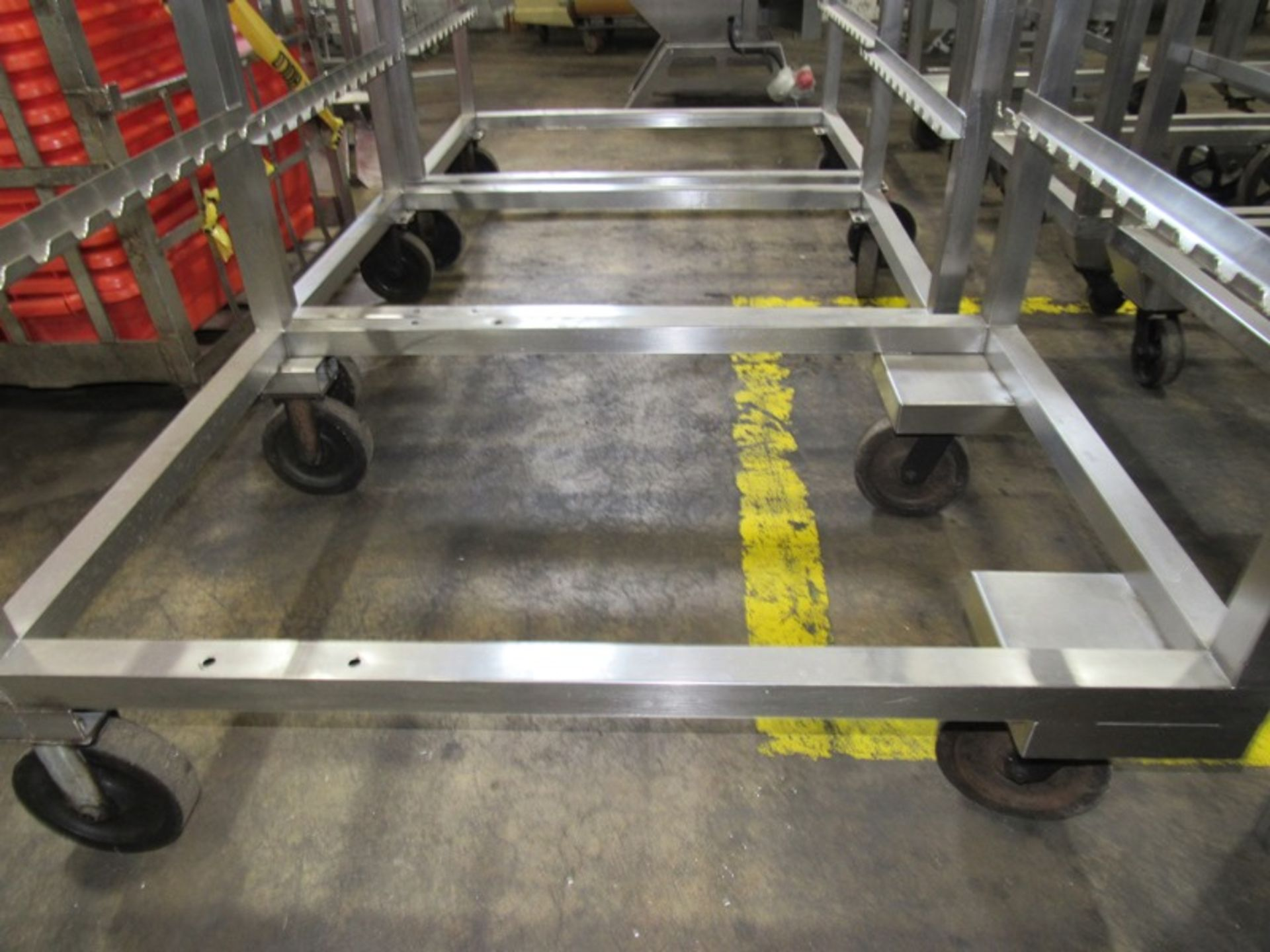 "Stainless Steel Smoke Trucks, 34"" W X 53 1/2"" L X 74"" T, 4 spaces to hold 12, 48"" sticks spaced - Image 2 of 3"