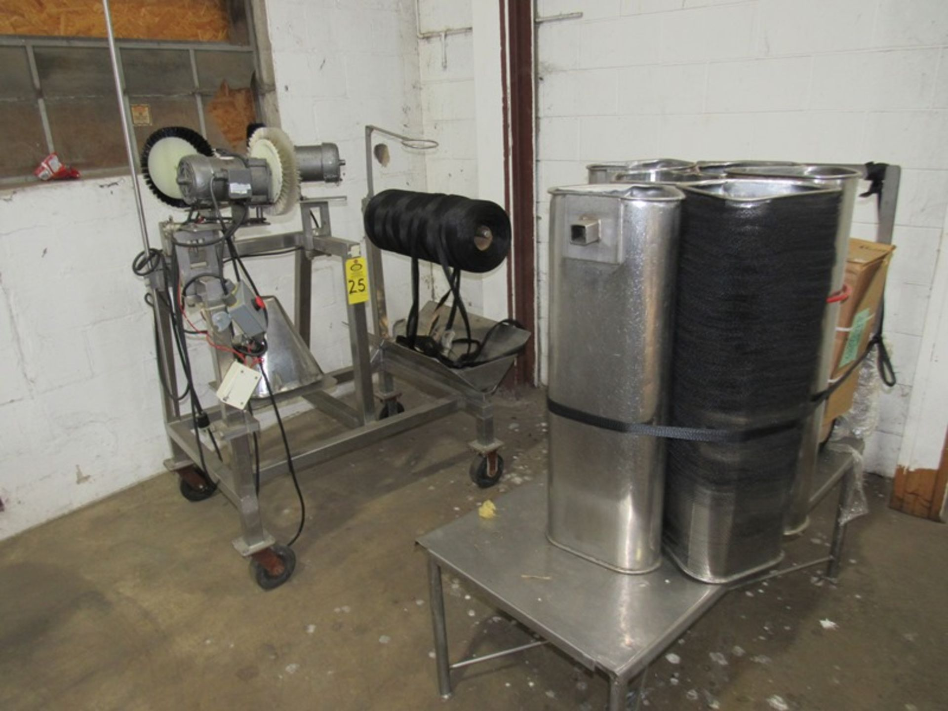 Net Rucking Machine, (3) 1/6 h.p. motors on brushes, (6) stainless steel net tubes Located in Plano