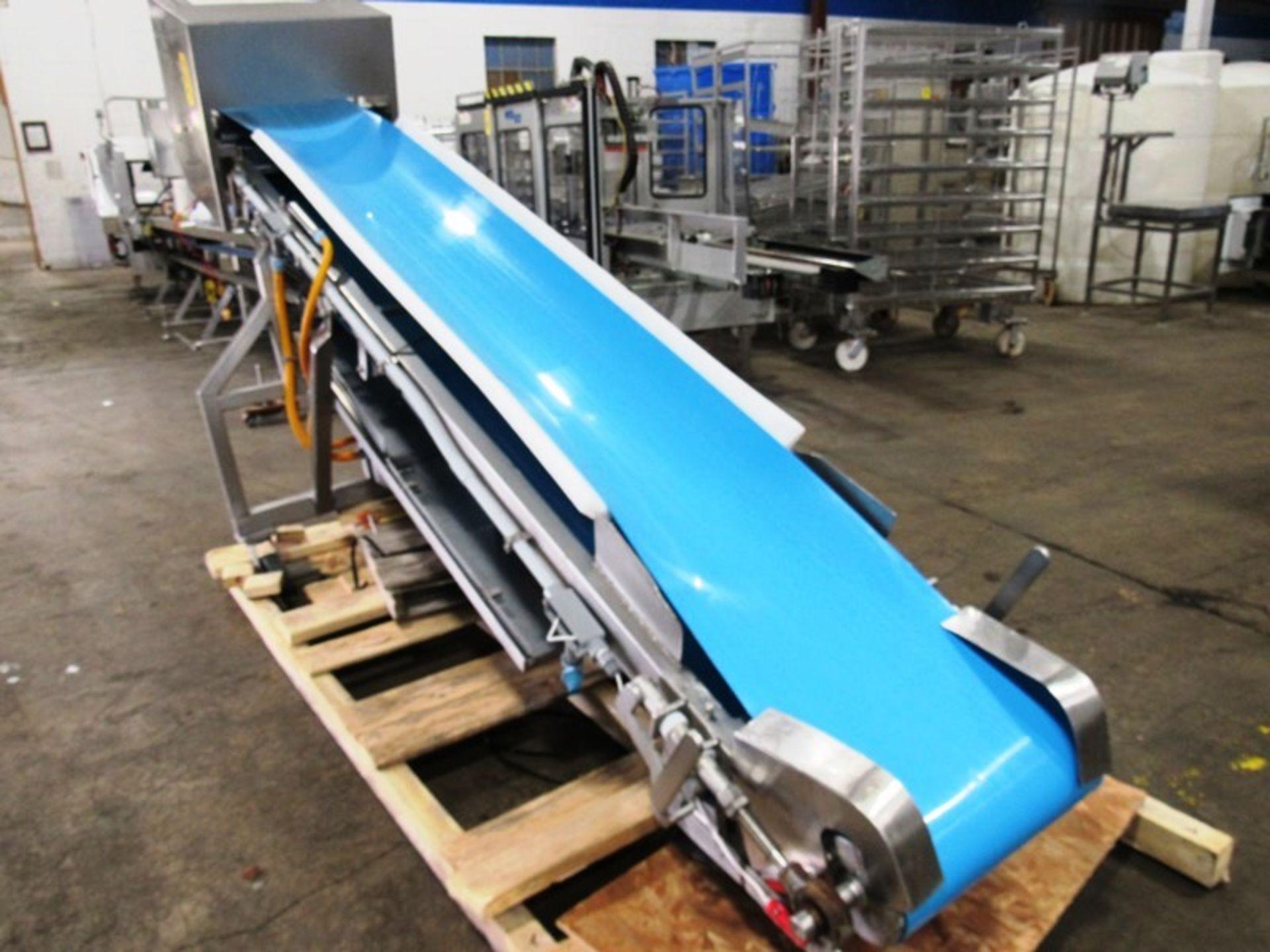 "Stainless Steel Incline Conveyor, 18"" Wide X 11' Long neoprene beltk 12"" inveed, 5' discharge, drum"