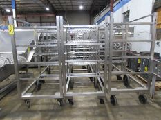 "Stainless Steel Smoke Trucks, 34"" W X 53 1/2"" L X 74"" T, 4 spaces to hold 12, 48"" sticks spaced"