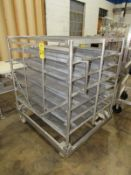 "Portable Stainless Steel Cart, 43"" W X 52"" L X 5' T, 34 removable perforated trays, 8"" W X 48"" L ("