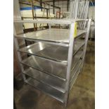 "Stainless Steel Racks, 44"" W X 48"" L X 5' T, 5 shelves spaced 9"" apart (Equipment must be removed by"