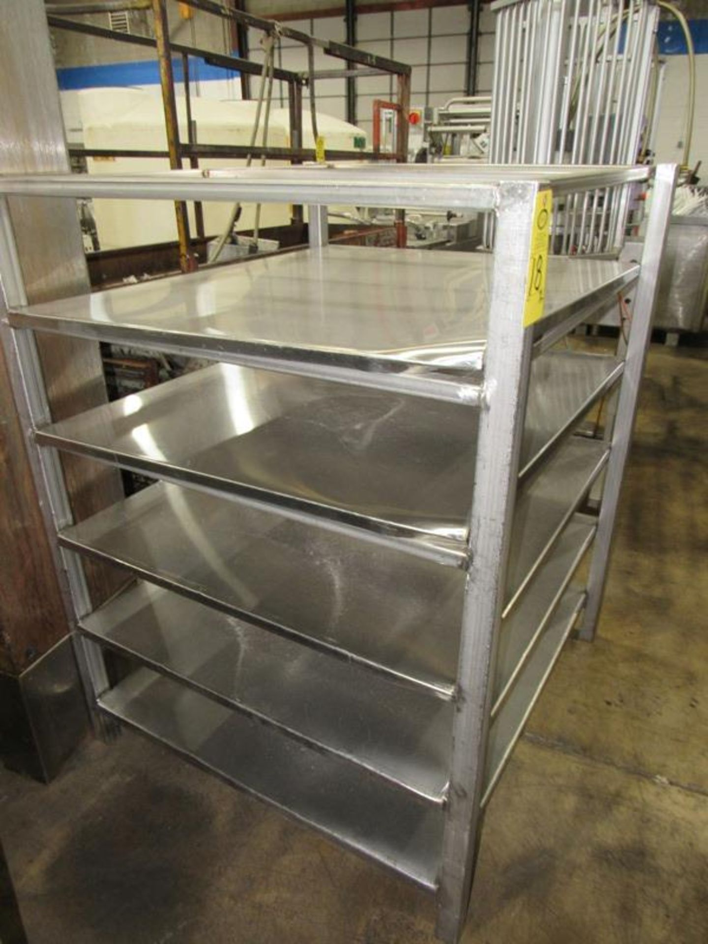 """Stainless Steel Racks, 44"""" W X 48"""" L X 5' T, 5 shelves spaced 9"""" apart (Equipment must be removed by"""