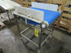 "Stainless Steel Conveyor, 24"" W X 38"" L plastic belt, 3 phase, stainless steel motor Located in Pl"