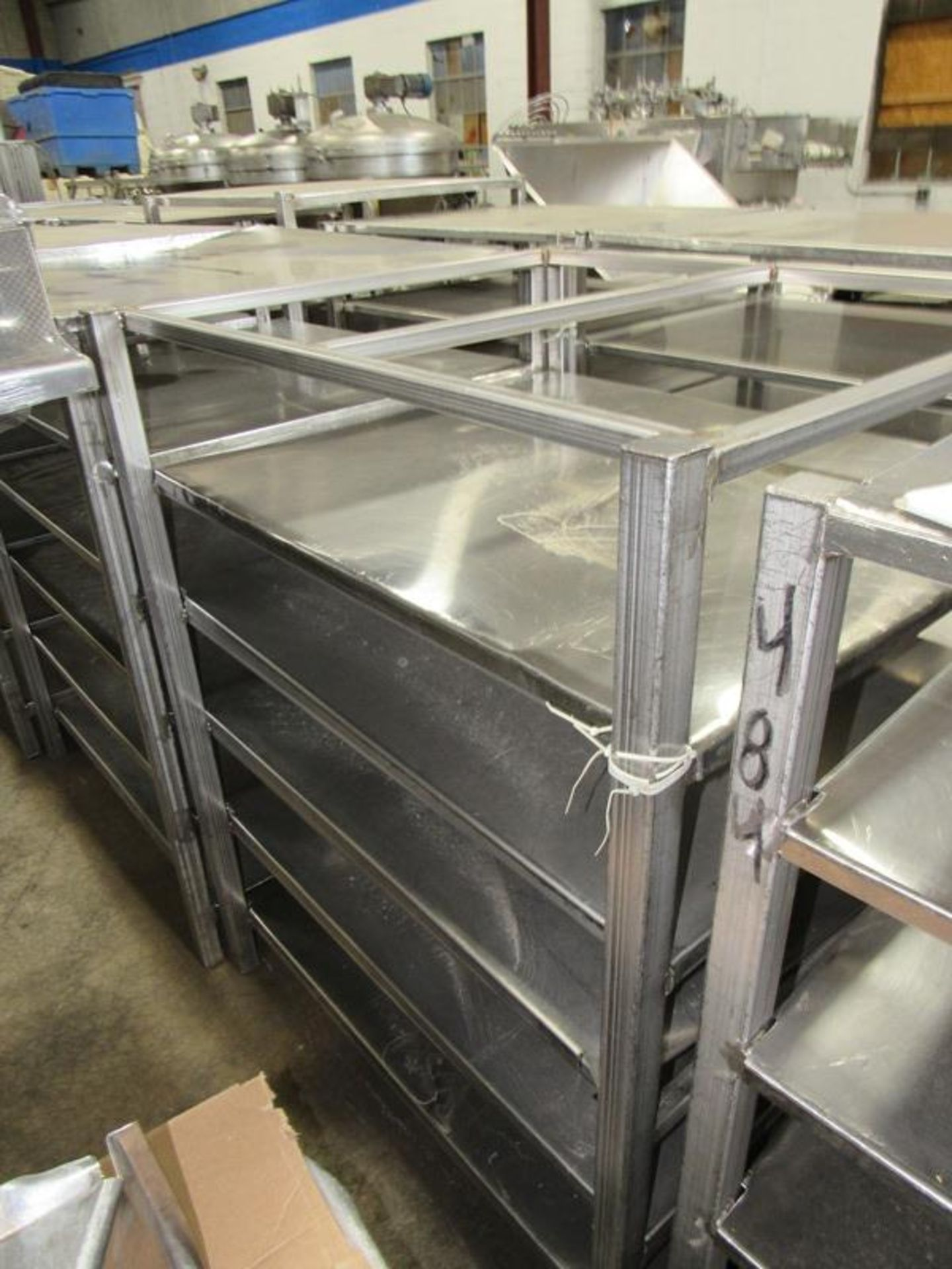 """Stainless Steel Racks, 44"""" W X 48"""" L X 5' T, 5 shelves spaced 9"""" apart (Equipment must be removed by - Image 2 of 2"""