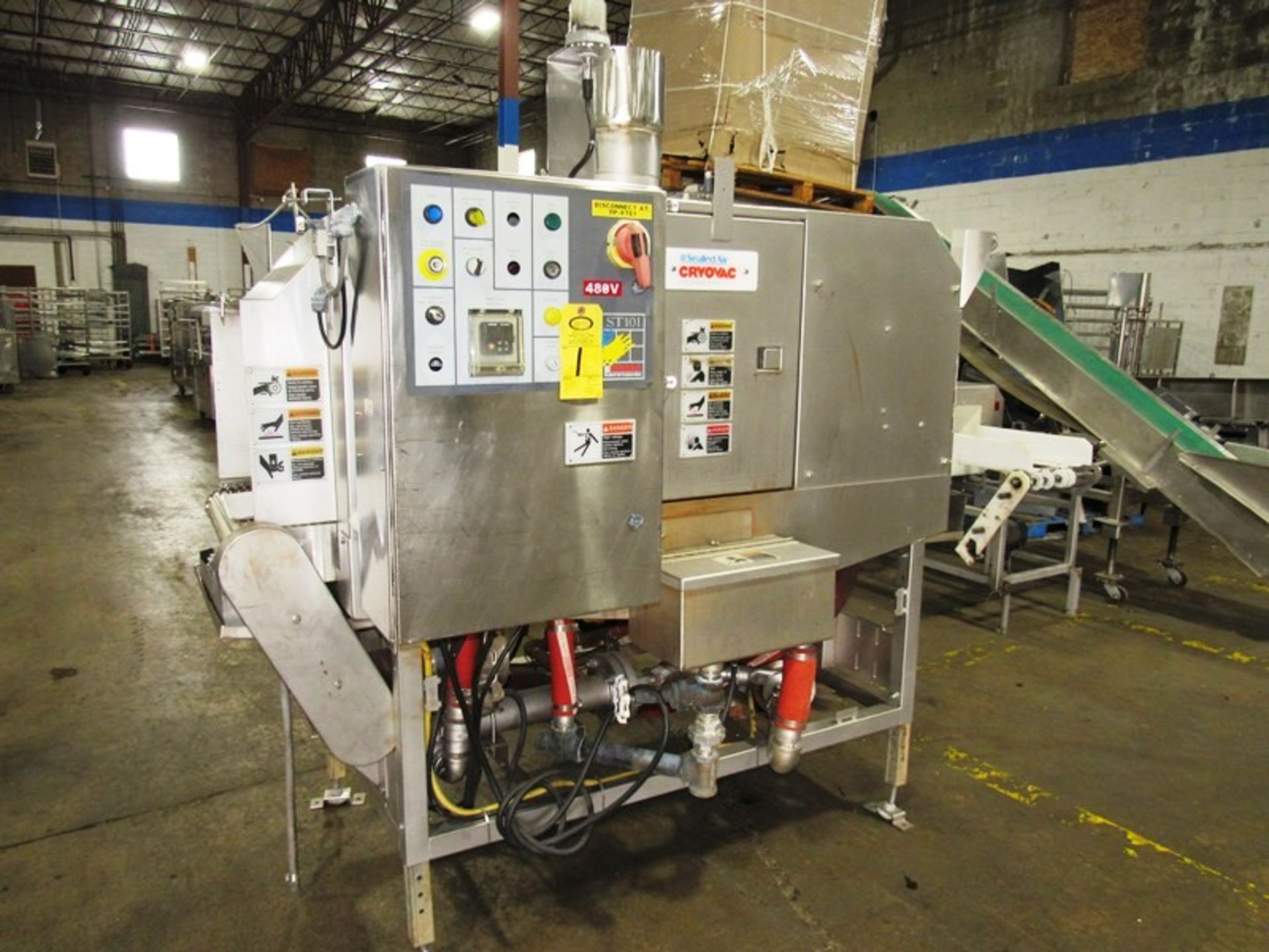 """Cryovac Mdl ST101 Steam/Hot Water Shrink Tunnel, 24"""" Wide X 18"""" Tall X 77"""" Long tunnel, 2 h.p."""