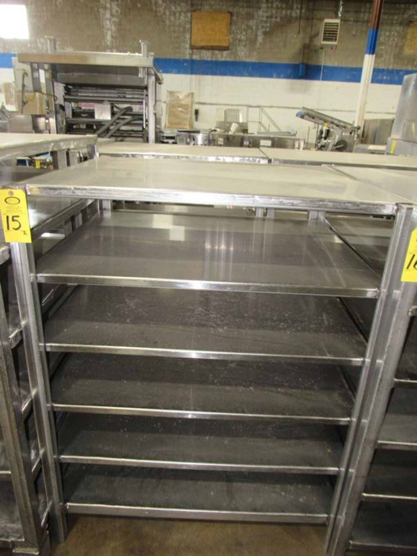 "Stainless Steel Racks, 44"" W X 48"" L X 5' T, 6 shelves spaced 9"" apart (Equipment must be removed by"