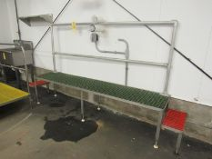 """Stainless Steel Work Platform, 20"""" W X 10' L chemgrate top, handrail (Required Rigging Fee: $50.00-"""