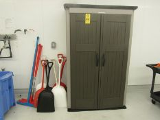 Lot of Rubbermaid Cabinet with buckets, squeegees, shovels, etc. (Required Rigging Fee: $50.00-
