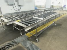 """Lot of (2) Stainless Steel Frame Roller Conveyors, (2) 22"""" wide rollers by 10' long X 33"""" tall, ("""