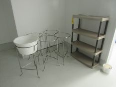 Lot of (4) Stainless Steel Rinse Bucket holders, (1) Plastic Shelf (Required Rigging Fee: $50.00-