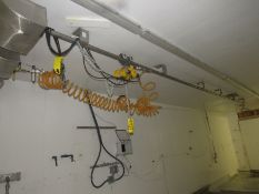 Budgit 1/2 Ton Chain Hoist with approx. 30' rail (pneumatic operation) (Required Rigging Fee: $350.