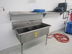 """Lot of Stainless Steel Basin, 27"""" W X 54"""" L X 12"""" D, 3 bays, (2) Stainless Steel Shelves 12"""" W X"""