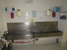 """Lot of (2) Stainless Steel Sinks, 12"""" W X 4' L with soap & towel dispenser, motion sensor activation"""
