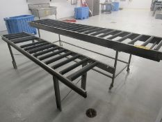 """Lot of (2) Stainless Steel Frame Roller Conveyors, (1) 22"""" wide rollers X 10' long, (1) 18"""" wide"""