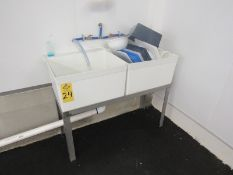 """Fiberglass Basins on stainless steel frame, 21"""" W X 4' L X 12"""" D (Required Rigging Fee: $75.00-"""