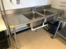 """7' X 32"""" TWO WELL STAINLESS PREP SINK."""
