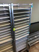TWENTY PAN FRONT LOAD TRAY RACK W/ PLASTIC TRAYS