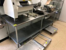 """8' X 30"""" STAINLESS TABLE W/ UNDER SHELF."""