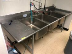 """102"""" THREE WELL STAINLESS POT SINK"""