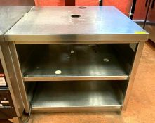 """DESCRIPTION (2) 36"""" 2-SECTION STAINLESS RETAIL COUNTERS ADDITIONAL INFO HAS WOOD GRAIN PANEL ON THE"""