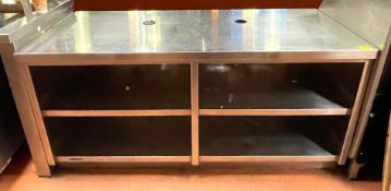 DESCRIPTION 6' 4-SECTION STAINLESS RETAIL COUNTER ADDITIONAL INFO HAS WOOD GRAIN PANEL ON THE FRONT