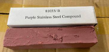 DESCRIPTION: (6) CASES OF PURPLE STAINLESS STEEL COMPOUND. 100 UNITS PER CASE BRAND / MODEL: EAZY PO