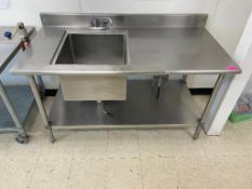 "DESCRIPTION: 5' X 30"" SINGLE WELL STAINLESS SINK W/ 4"" BACK SPLASH ADDITIONAL INFORMATION HEAVY DUTY"