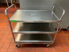 """DESCRIPTION: 33"""" THREE TIER STAINLESS UTILITY CART LOCATION: KITCHEN QTY: 1"""