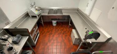 """DESCRIPTION: 80"""" X 106"""" X 88"""" U SHAPED ALL STAINLESS CABINET WITH CENTER SINK ADDITIONAL INFORMATION"""