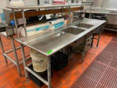 """DESCRIPTION: 8' X 30"""" STAINLESS TABLE W/ TWO WELL SINK AND RISER SHELF SIZE: 8' X 30"""" LOCATION: KITC"""
